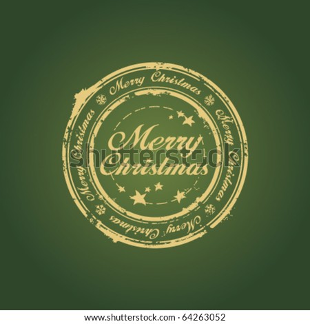 Merry Christmas stamp on green
