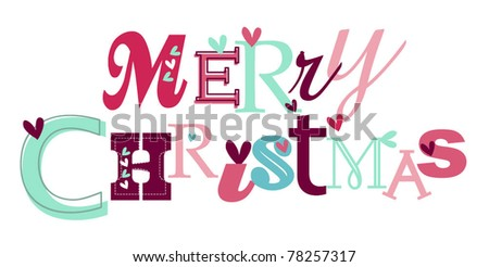 Merry christmas stylized typography