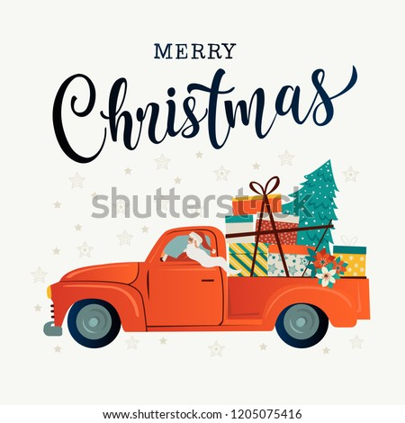 Merry christmas stylized typography. Vintage red car with santa claus, christmas tree and gift boxes. Vector flat style illustration. #1205075416