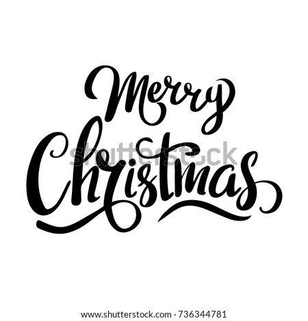 Merry Christmas template for banner or poster. Holiday lettering, greeting card with christmas tree . Vector illustration