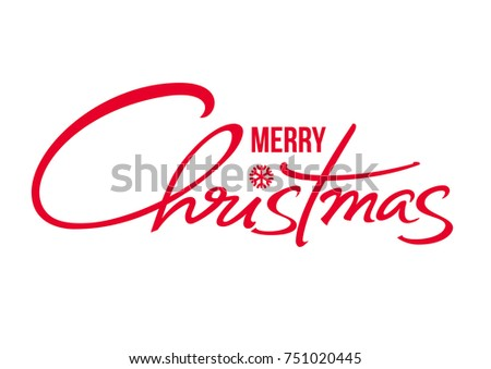 Merry Christmas text. Calligraphic hand drawn lettering design. Vector typography red letters isolated on white background.