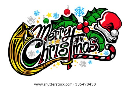 Merry Christmas Text Design Graphic Stock Vector Illustration ...