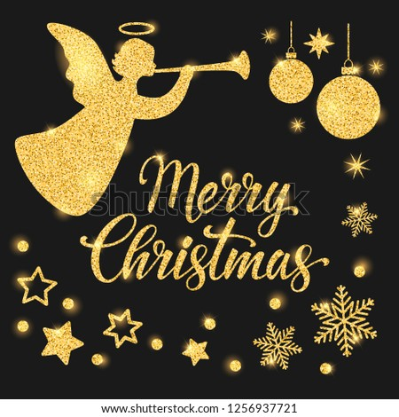 Merry Christmas text for card for your design. Calligraphy inscription, gold angel and stars on a black background. Bright snowflakes with holiday balls. Vector illustration.