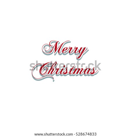Merry Christmas text for greeting card and poster. Vector lettering for gift. Typography design concept. Calligraphy font style.
