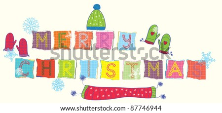 Merry christmas text funny banner with knitted garments