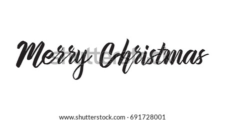 Merry Christmas text. Greeting card or banner with calligraphy, lettering.
