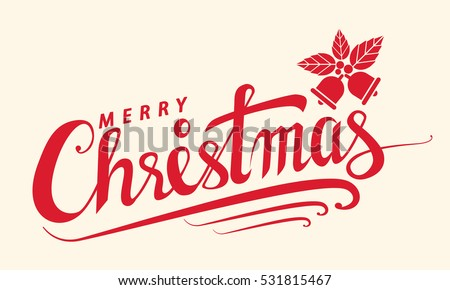 Merry Christmas text, Lettering design card template. Creative typography for Holiday Greeting Gift Poster, banner, flyer. Vector illustration