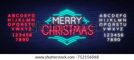 Merry Christmas text, template design letter template, cover in a neon style. Bright glowing banner, neon sign, night congratulation with Christmas. Vector illustration. Editing text neon sign.