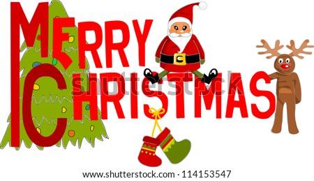 Merry Christmas text - vector illustration.