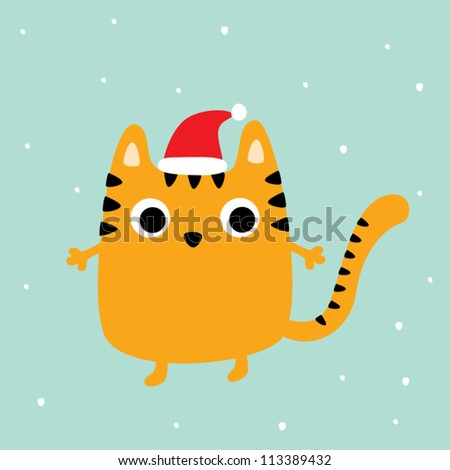 merry christmas tiger cat