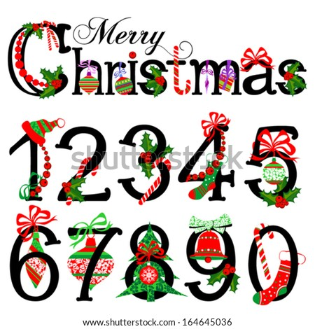 Merry Christmas Title And Collection Of Isolated Christmas Numbers ...