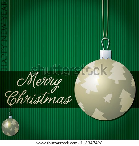 Merry Christmas tree bauble card in vector format.