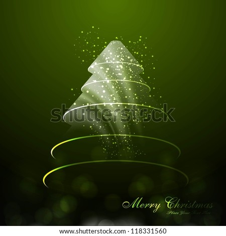 merry christmas tree green colorful card vector - stock vector