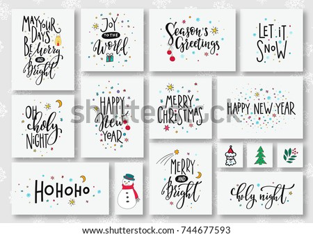 Merry Christmas tree Happy New Year simple lettering set. Calligraphy card postcard graphic design element. Hand written sign. Photo overlay Winter Holidays vector. Santa Bright Days Holly Jolly world