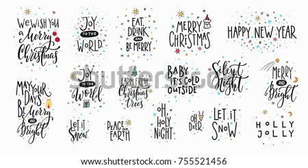 Merry Christmas tree Happy New Year simple lettering set. Calligraphy card sticker graphic design element. Hand written sign. Photo overlay Winter Holidays vector. Santa Bright Days Holly Jolly world