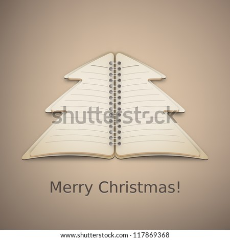 Merry Christmas Tree Notebook Vector