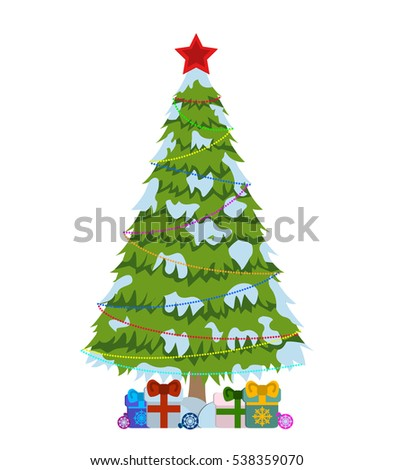 Merry Christmas tree sign on white background. Pine tree with colored lights logo. Vector Illustration.