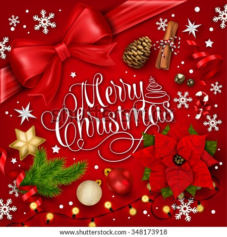 Merry Christmas Typographical Background With Elements