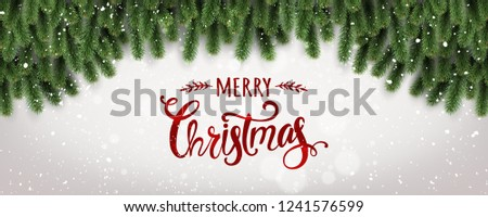 Merry Christmas Typographical on white background with tree branches decorated with stars, lights, snowflakes. Xmas theme. Vector Illustration