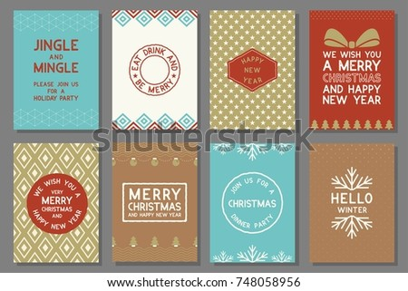 Merry Christmas typography and elements for holidays with greeting card template and pattern in retro style