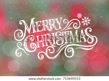 Merry Christmas  typography vector design for greeting cards and poster. Merry Christmas hand lettering on a blurred background. Vector illustration.