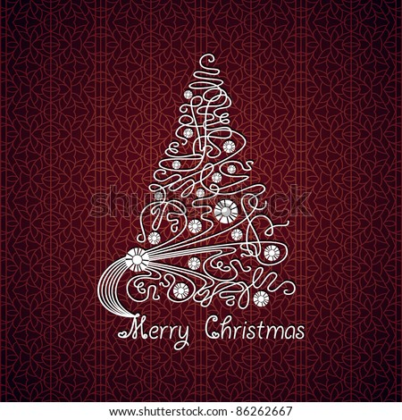 Merry Christmas vector card. Tree on lace background