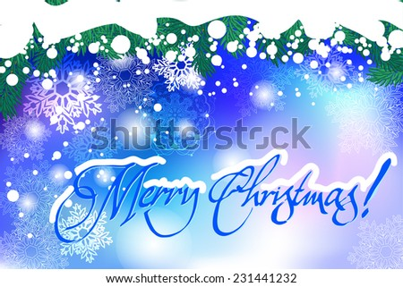 Merry Christmas. Vector Christmas background of fir branch, cone and inscription Merry Christmas! #231441232