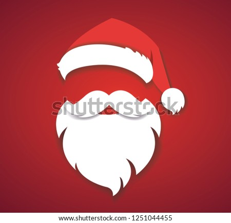 b77eb1a40dd merry christmas vector concept red with christmas hat and santa white beard  illustration eps10