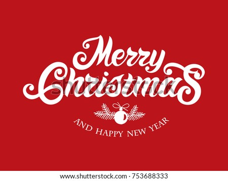 Merry Christmas vector text Calligraphic Lettering design card template. Calligraphic handmade lettering. Merry Christmas vector design for greeting cards and poster.