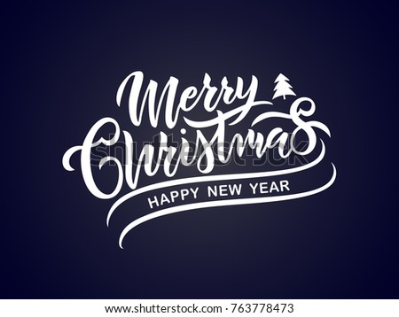 Merry Christmas vector text Calligraphic Lettering design card template. Calligraphic handmade lettering.