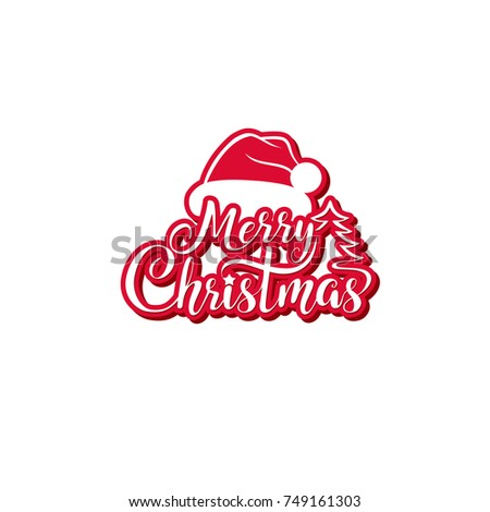 Merry Christmas vector text. Festive calligraphic lettering for greeting cards and posters.