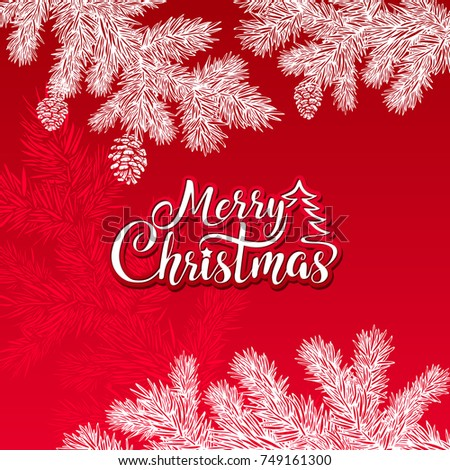 Merry Christmas vector text on a red background with a white silhouette of tree branches and cones.