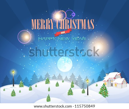 Merry Christmas Village Landscape Vector Design