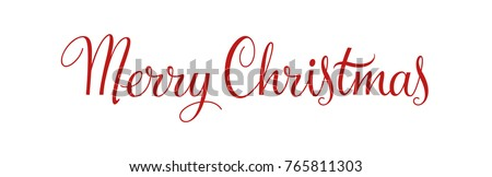 Merry Christmas vintage calligraphy vector text and xmas holiday celebration greeting card design. Horizontal red banner and poster with lettering on white. Typography design element. EPS 10.