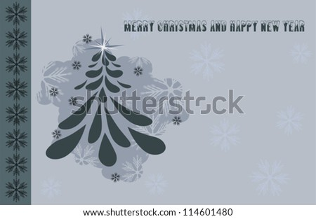 Merry Christmas - vintage christmas tree - stock vector