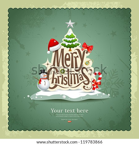 Merry Christmas vintage design greeting card background vector illustration