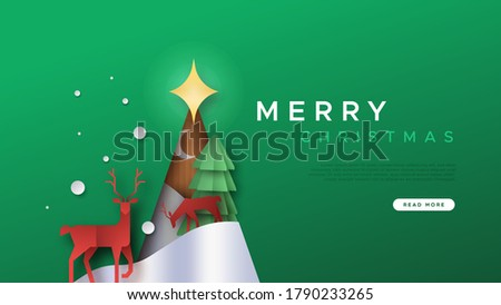 Merry Christmas web background template with modern papercut winter landscape inside pine tree cutout. Wild reindeer and snow forest paper craft for holiday landing page.