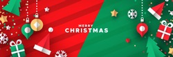 Merry Christmas web banner illustration of 3d paper cut holiday icon decoration. Includes gift box, bauble, santa hat and pine tree.