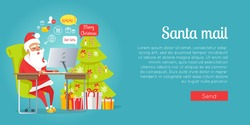 Merry Christmas web banner of Santa mail. Vector portrait in cartoon style of happy Santa Claus sitting at table near decorated Christmas tree with gift boxes and reading online Christmas letters.