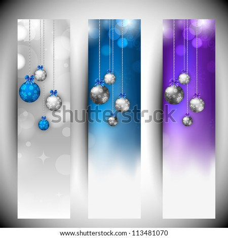 Merry Christmas website banner set decorated with hanging evening balls, snowflakes and lights. EPS 10.