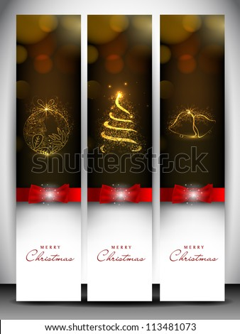 Merry Christmas website banner set decorated with Xmas tree jingle bell snowflakes and lights EPS 10.