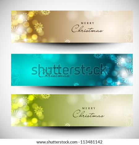 Merry Christmas website header and banner set decorated with snowflakes and lights EPS 10.