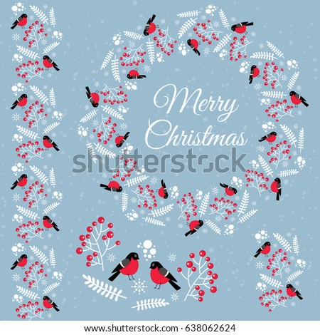 Merry Christmas. Winter items with bullfinches for decoration. #638062624