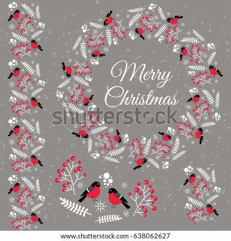 Merry Christmas. Winter items with bullfinches for decoration. #638062627