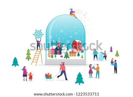 Merry Christmas, Winter wonderland scene in a snow globe with small people, young men and women, families having fun in snow, skiing, snowboarding, sledding, ice skating, concept vector illustration