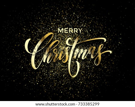 Shutterstock Merry Christmas wish greeting card of gold glitter confetti or sparkling fireworks on premium luxury black background. Vector golden calligraphy lettering design for New Year or Christmas holiday