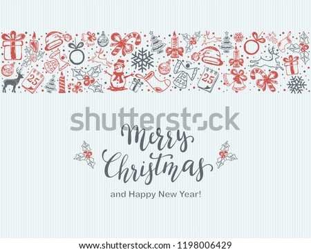 Merry Christmas with decorative red and gray elements on a blue background. Holiday card with lettering and decoration, illustration.