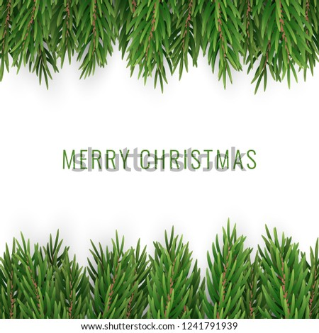 Merry Christmas with Realistic Pine Tree Branches on White Backg #1241791939
