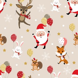 Merry Christmas with Santa Clause, deer, squirrel, rabbit and fox hold balloons seamless pattern. Holiday cartoon vector. Cute wildlife animal character. Happy new year background.