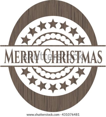 Merry Christmas wood emblem. Retro